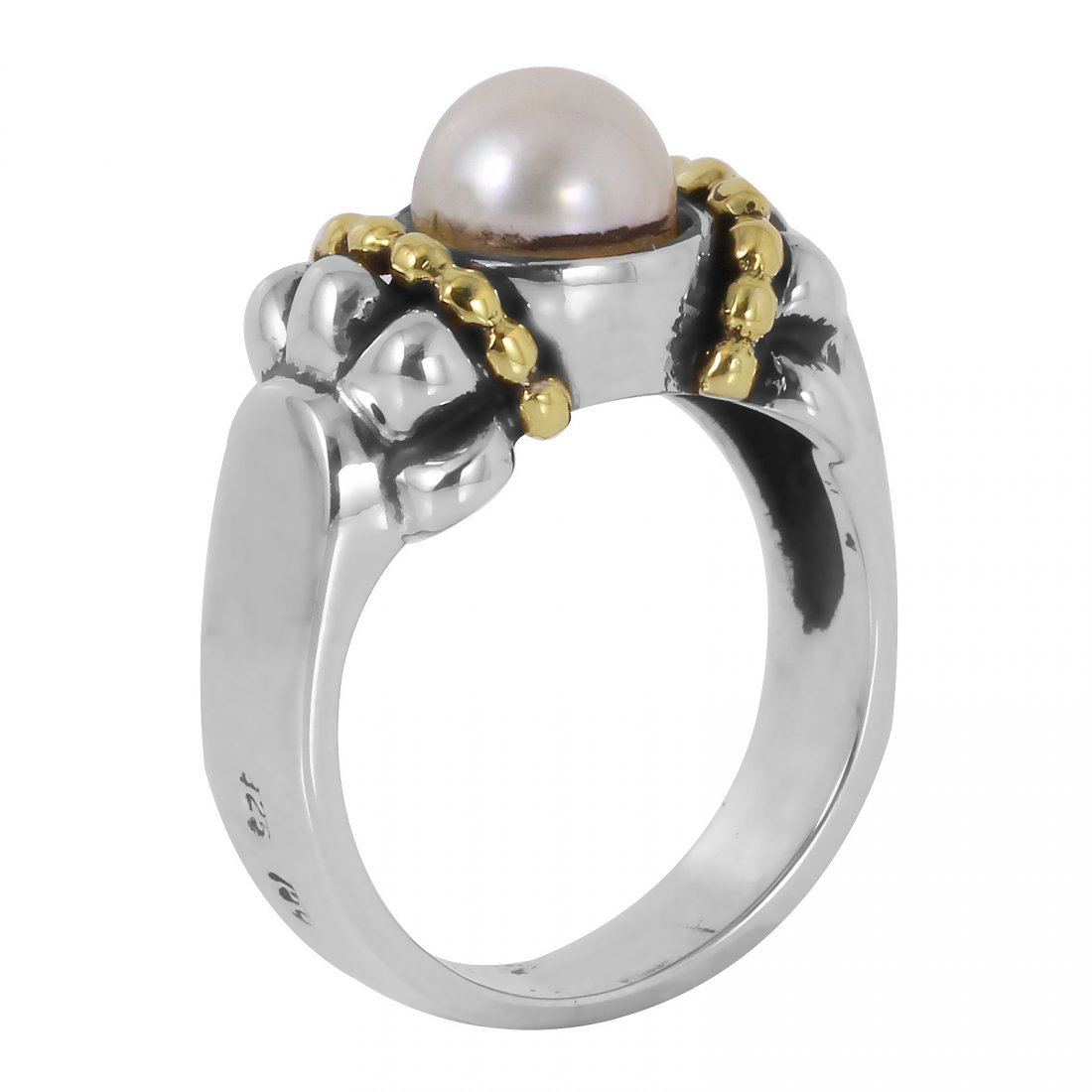 Lagos: 18K Gold Sterling Silver Pearl Ring - 2