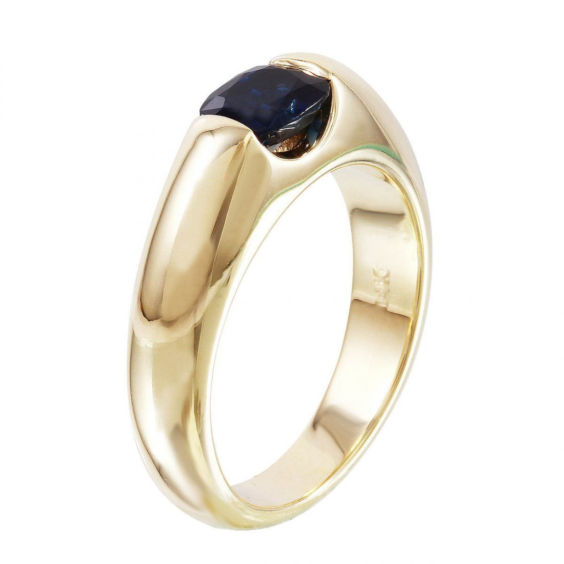 14K Yellow Gold Sapphire Solitaire Ring - 2
