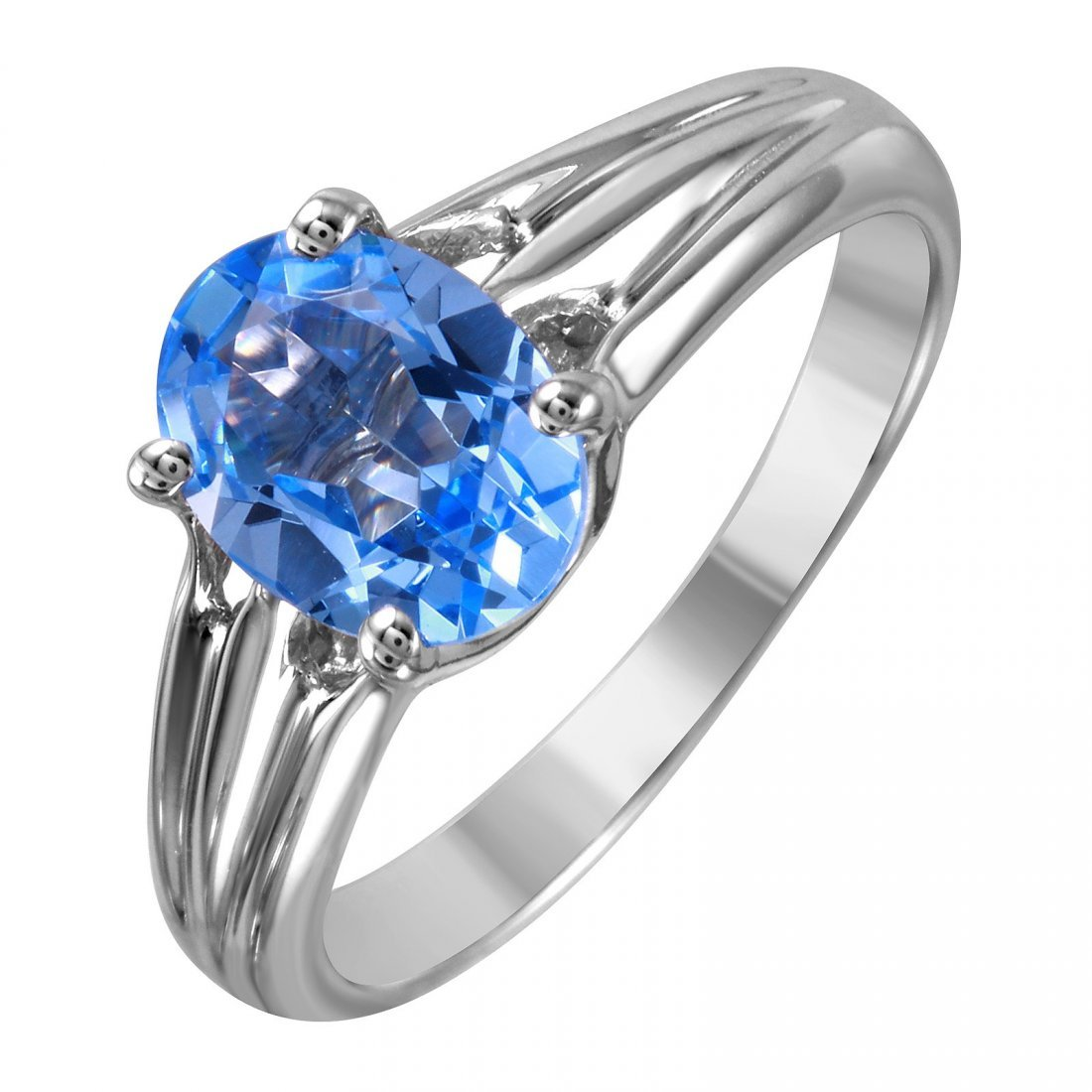 14K White Gold Aquamarine Solitaire Ring