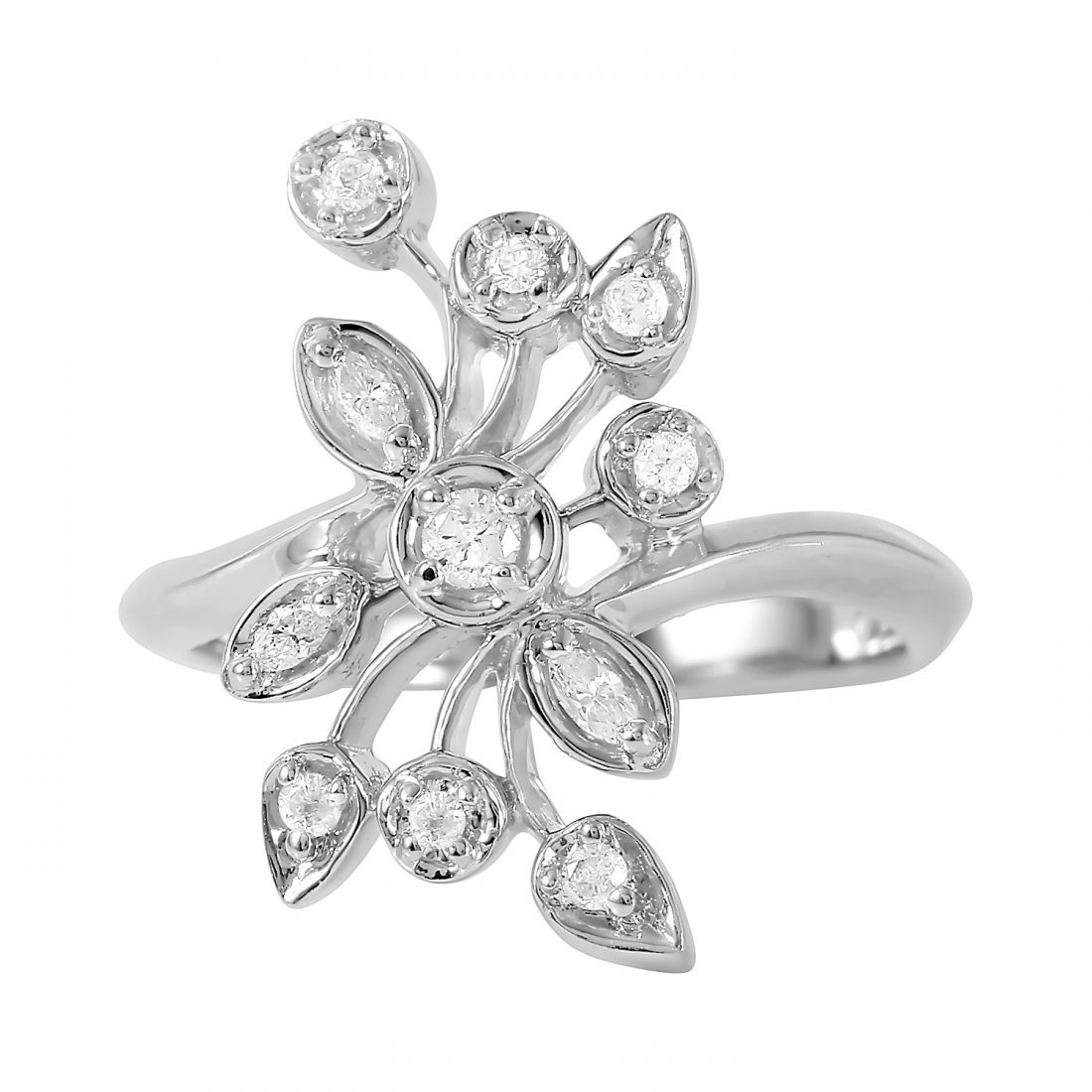 10K White Gold Diamond Ring - 2