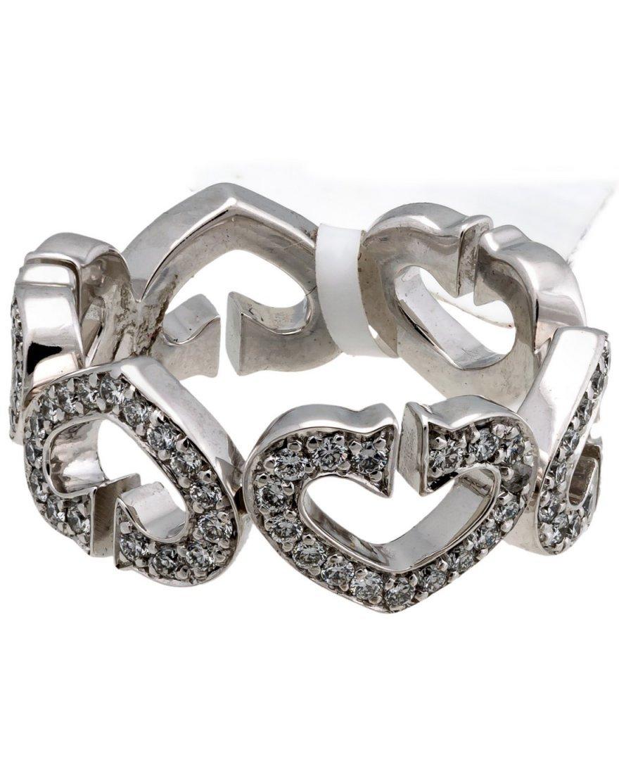 """Cartier: 18K White Gold Diamond """"C"""" Heart Ring"""