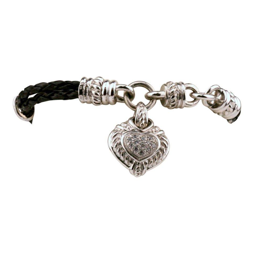 Judith Ripka: CZ & Sterling Rope Heart Bracelet
