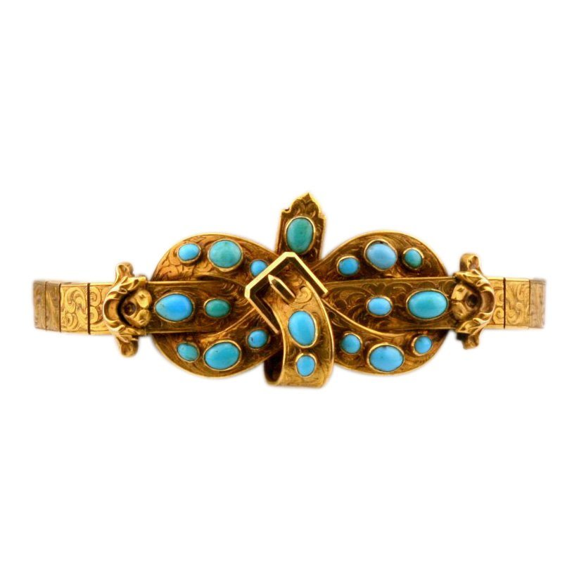 Georgian 18K Gold Natural Turquoise Bow Bracelet