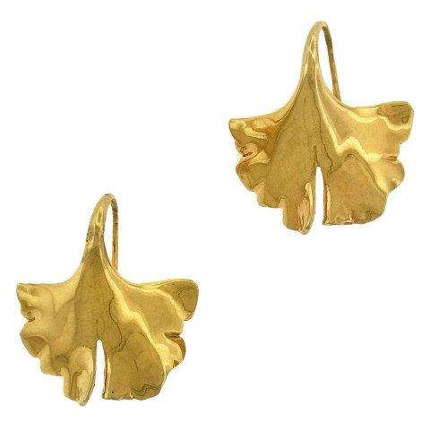 Gayle Saunders: 14K Gold Gingko Earrings