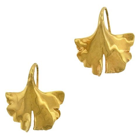 Gayle Saunders: 14K Gold Gingko Earrings