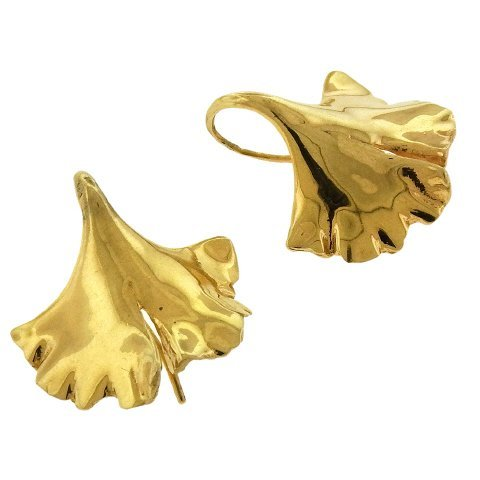 Gayle Saunders: 14K Gold Gingko Earrings - 2