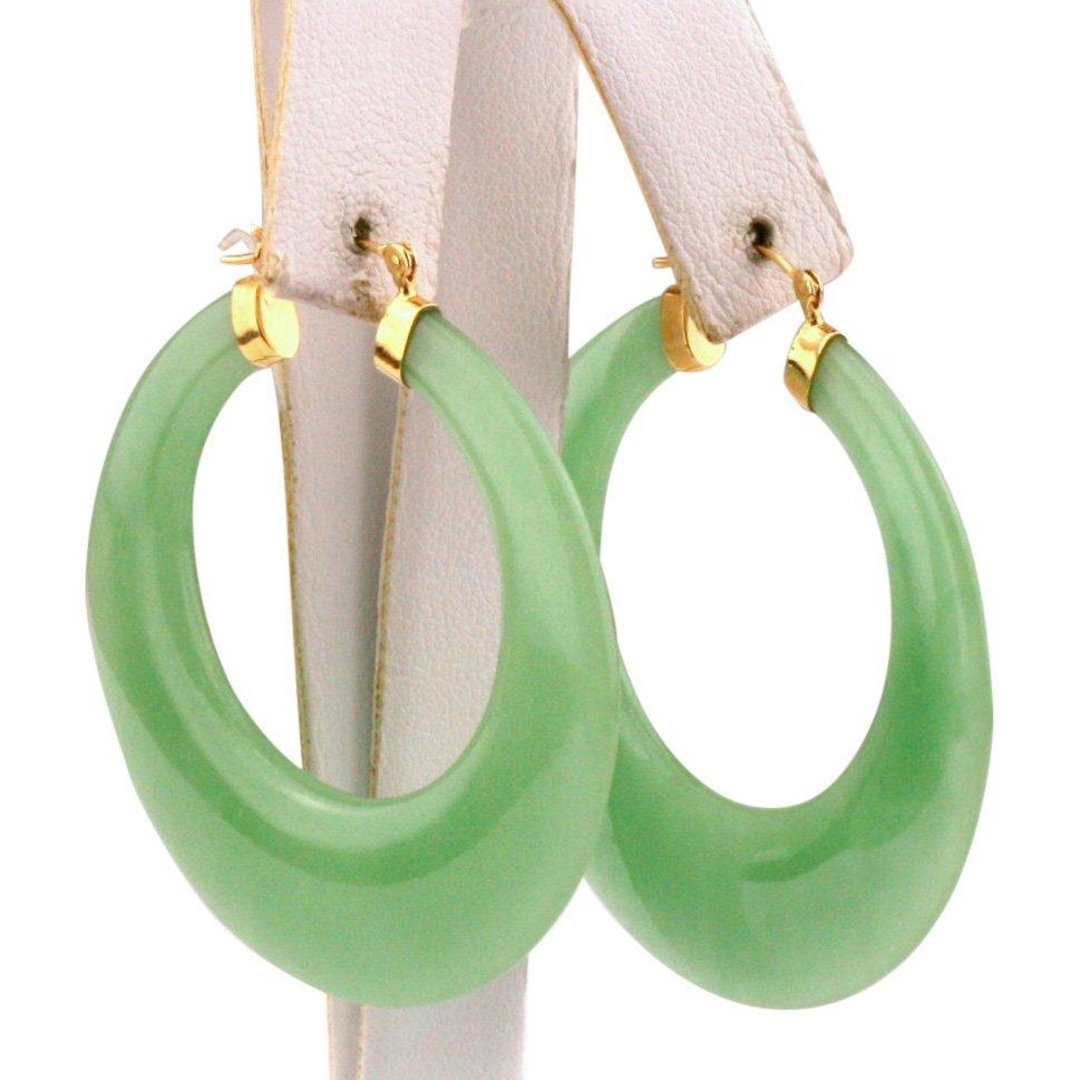 14K Yellow Gold Dyed Jade Hoops Earrings