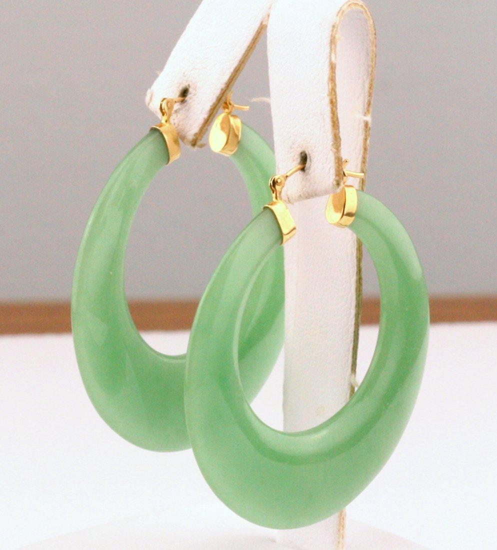 14K Yellow Gold Dyed Jade Hoops Earrings - 2