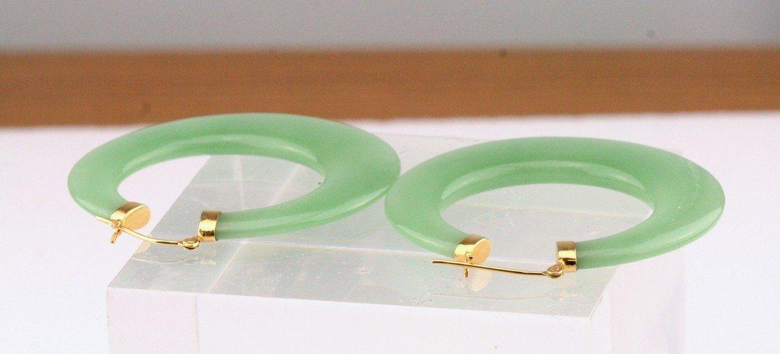 14K Yellow Gold Dyed Jade Hoops Earrings - 3