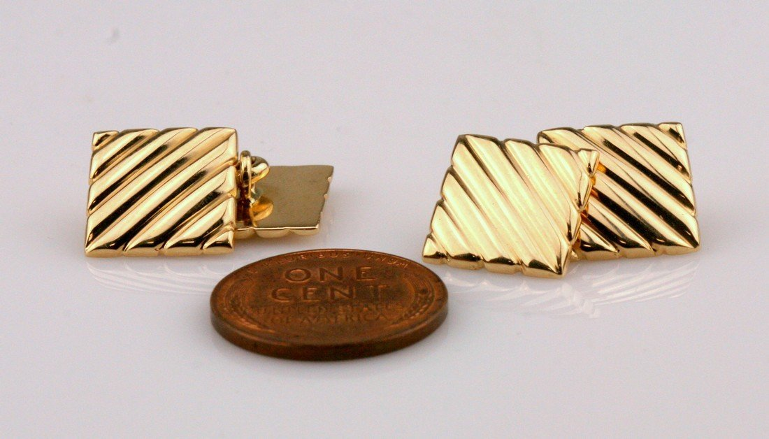 Tiffany & Co: 14K Yellow Gold Cuff Links - 2