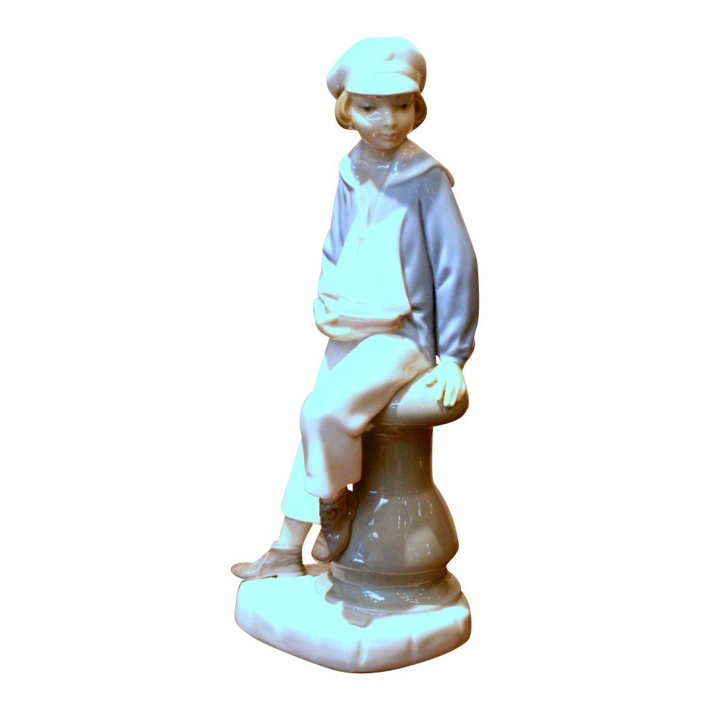 Lladro Boy with Yacht Figurine
