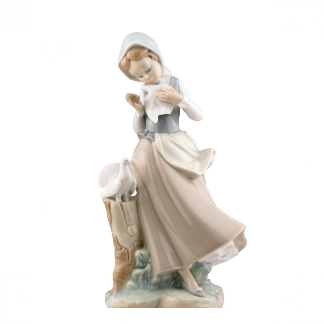 Lladro Woman With Peacock Figurine