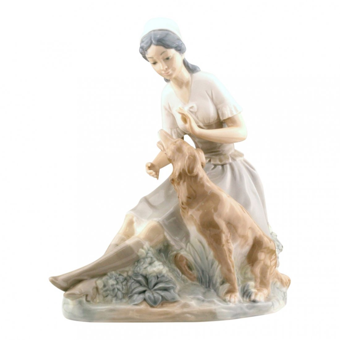 Lladro Nao Woman With Dog Figurine