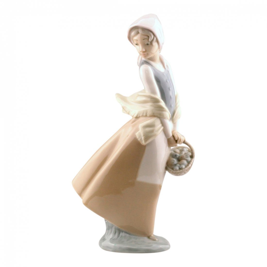 Lladro Nao Woman With Basket Figurine