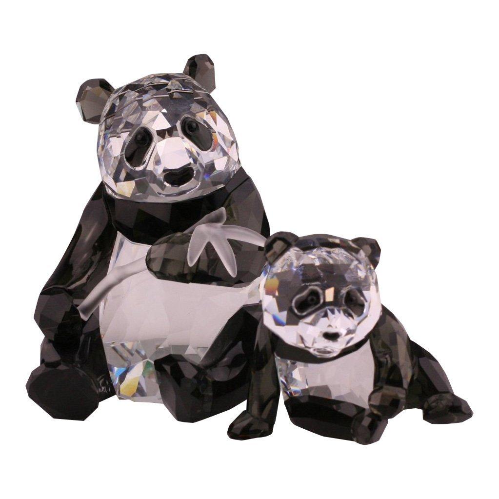 Two Swarovski Wildlife Panda Figurines