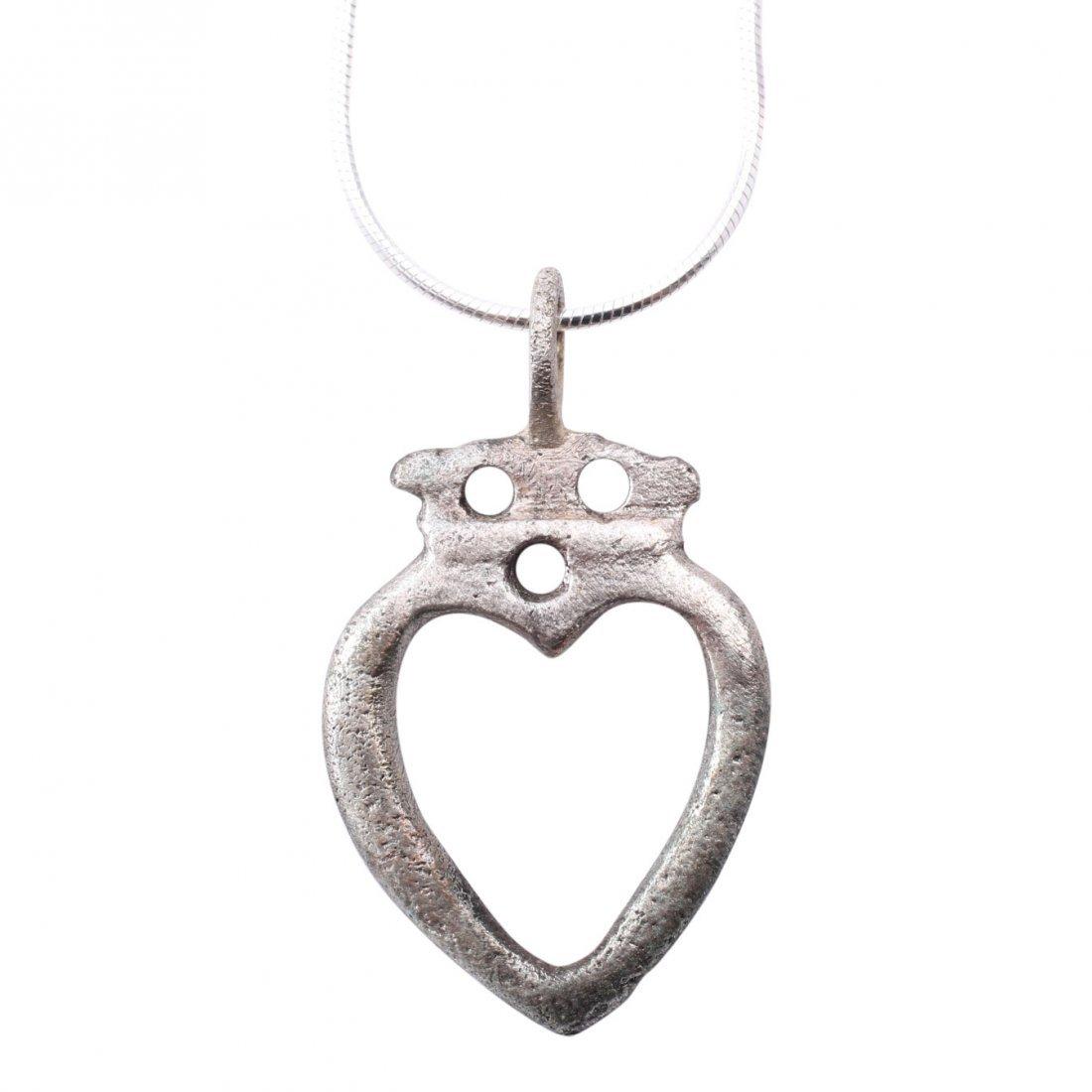 Extraordinary Viking Crowned Heart Pendant 10-11th C