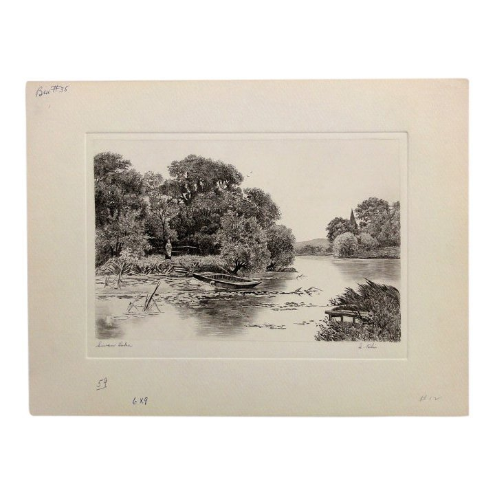 I. Blis: Swan Lake Etching - Signed, 1930