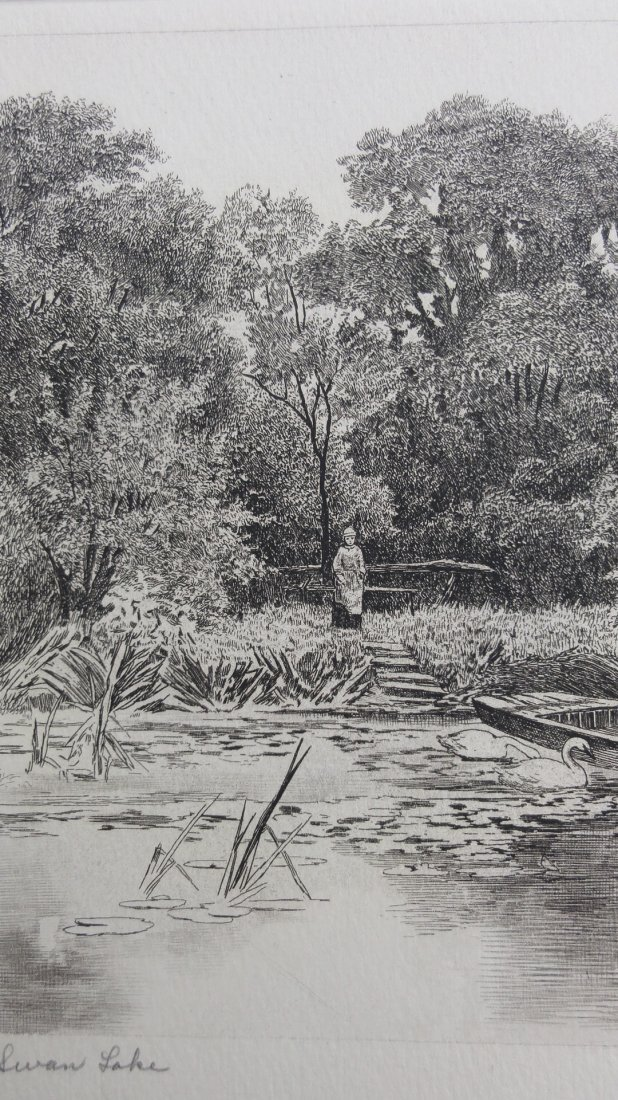 I. Blis: Swan Lake Etching - Signed, 1930 - 3