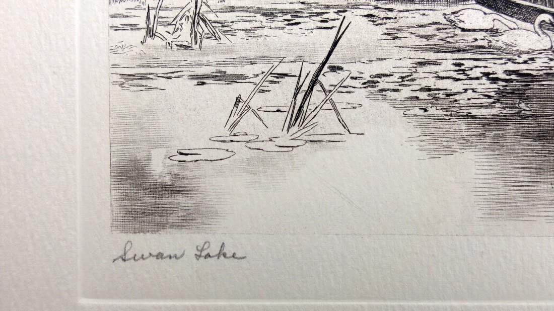 I. Blis: Swan Lake Etching - Signed, 1930 - 4
