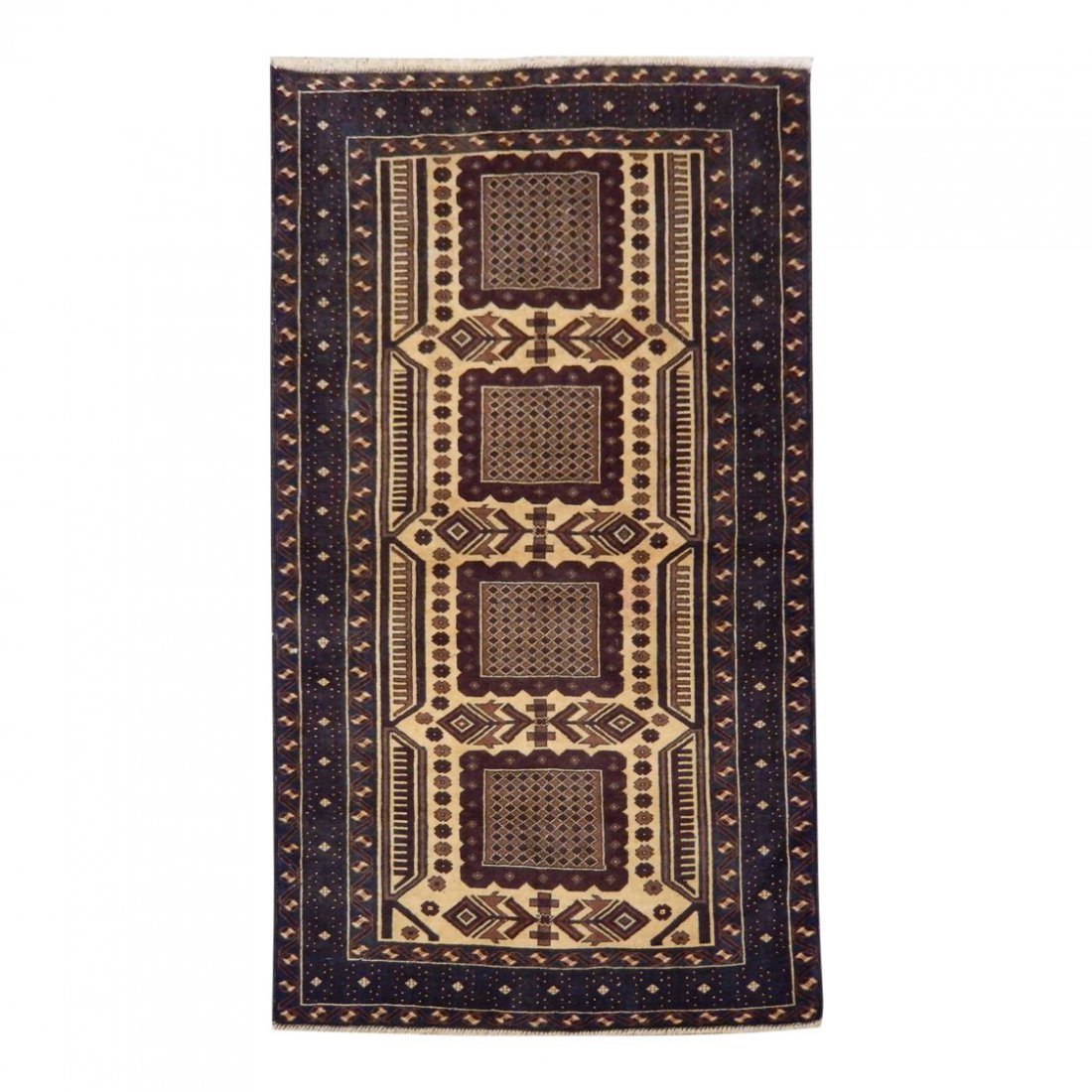 Persian Baluch Heart Tribal Rug 3.7x6.4