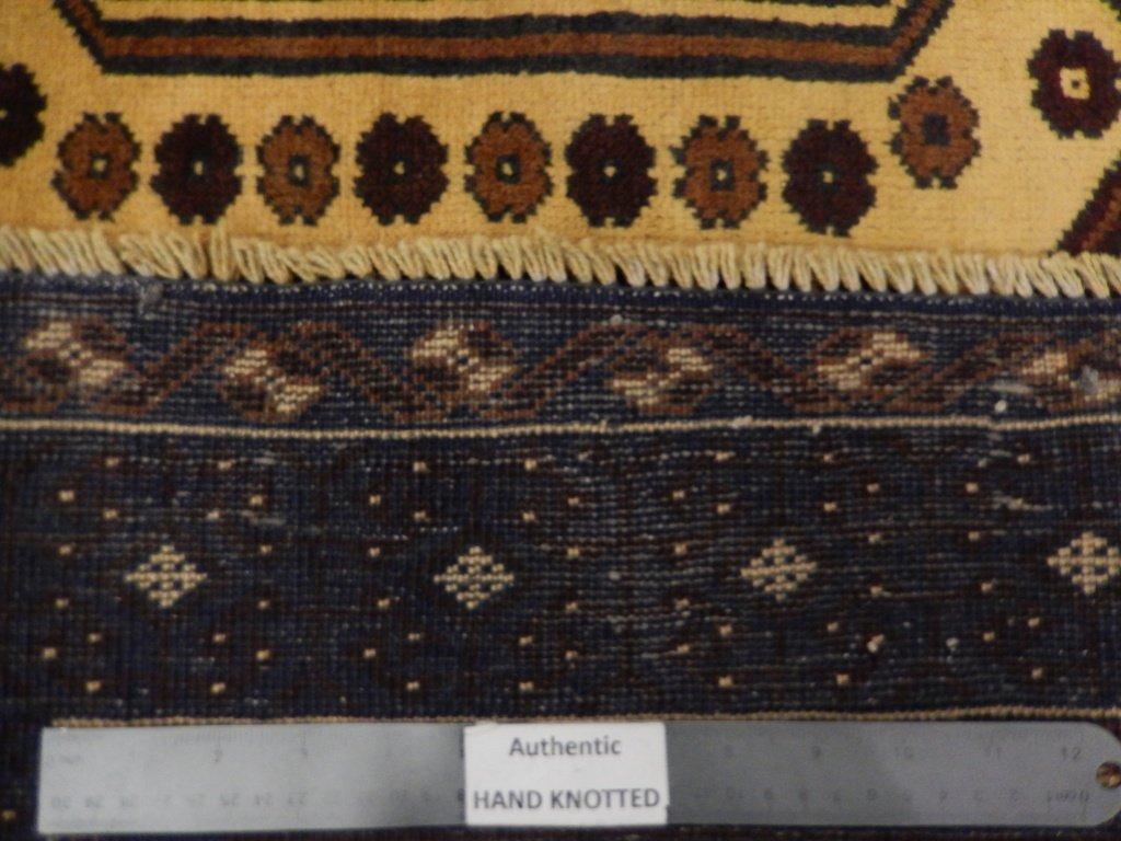 Persian Baluch Heart Tribal Rug 3.7x6.4 - 2
