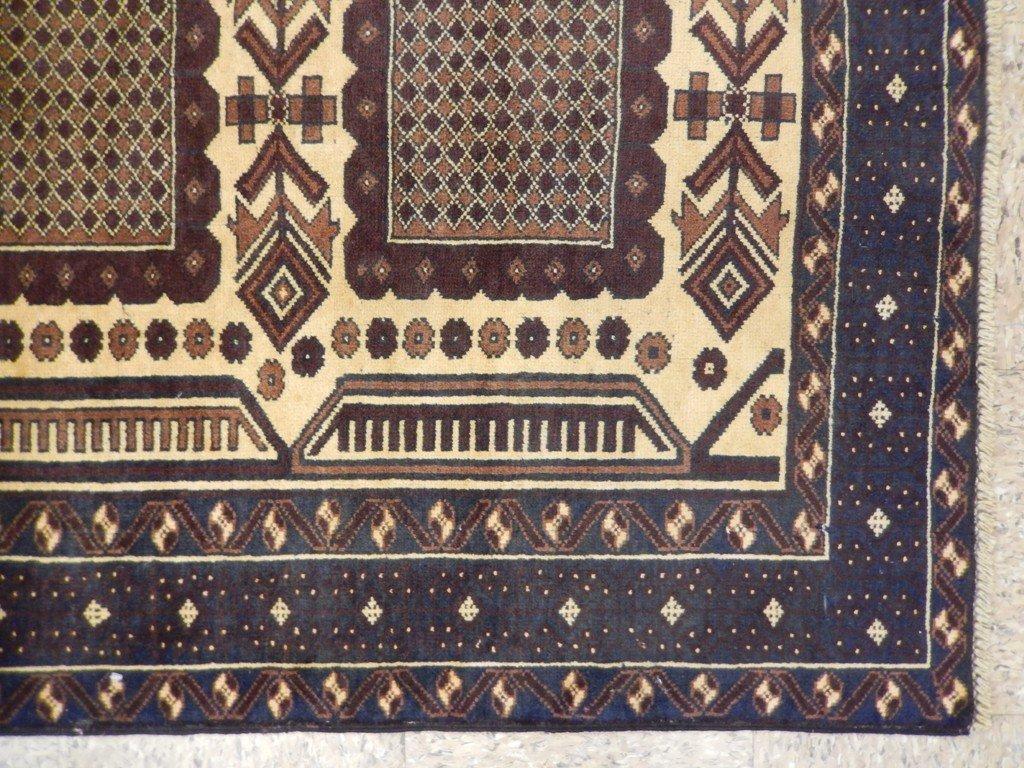 Persian Baluch Heart Tribal Rug 3.7x6.4 - 3