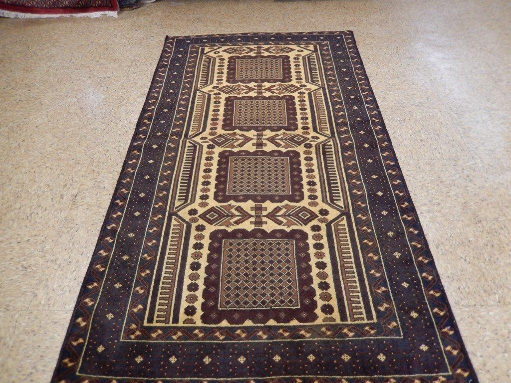Persian Baluch Heart Tribal Rug 3.7x6.4 - 5