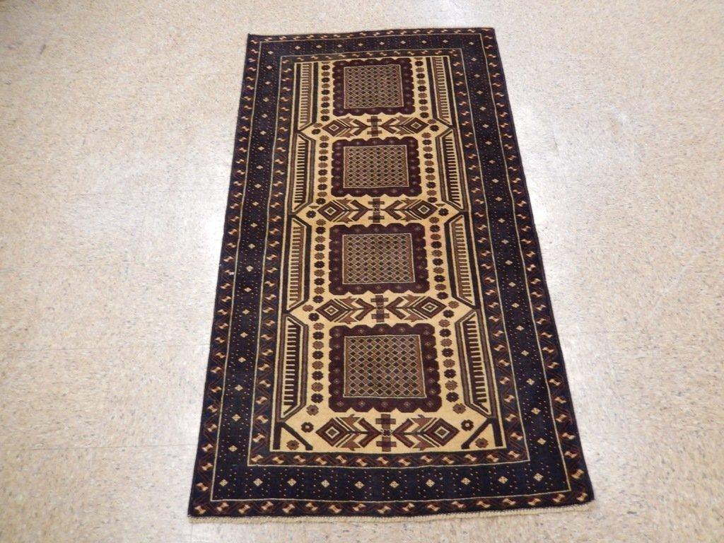 Persian Baluch Heart Tribal Rug 3.7x6.4 - 6