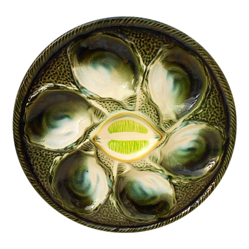 St. Clement Green Majolica Oyster Plate