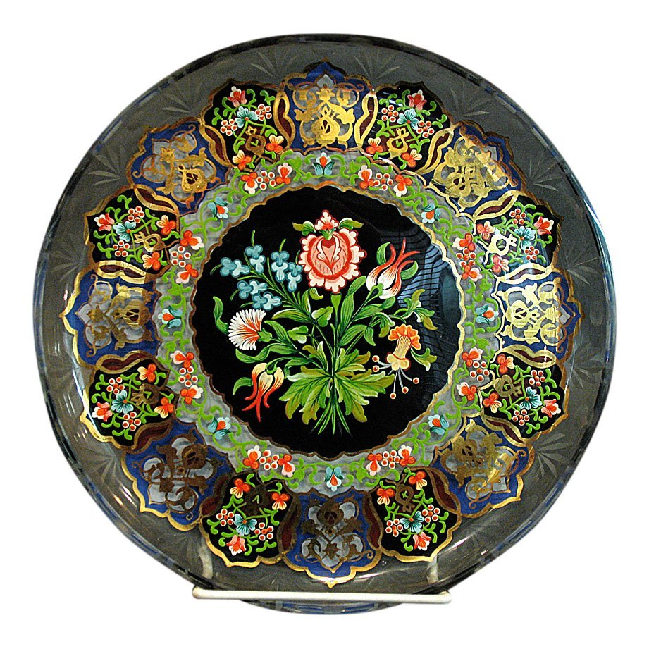 Enamel Decorated Glass Plate, 1930