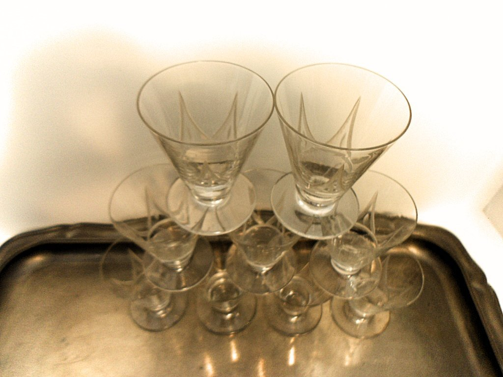 Set of 9 French Art Deco Etched Liquor Glasses - 3