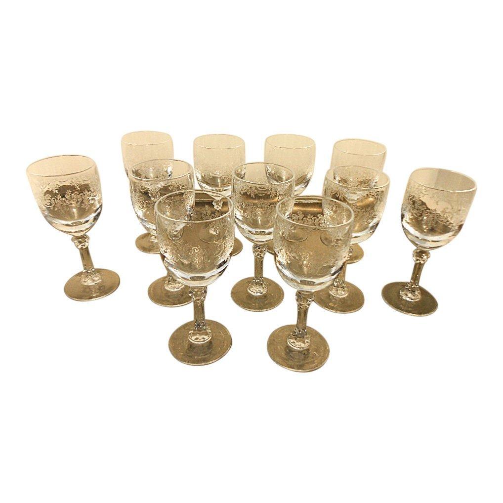 Set of 11 French Cristalin Liquor Glasses