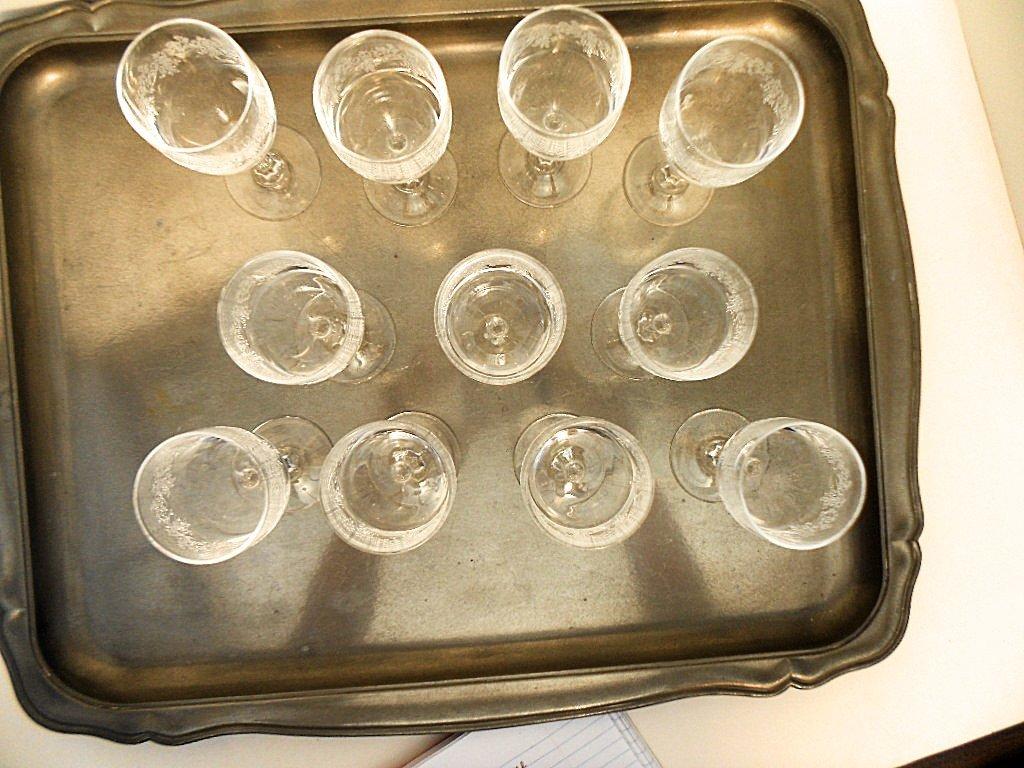 Set of 11 French Cristalin Liquor Glasses - 2