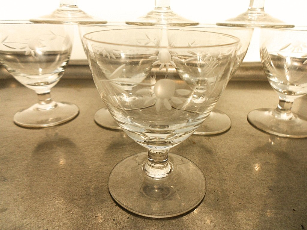 Set of 8 French Etched Floral Liquor Glasses - 2
