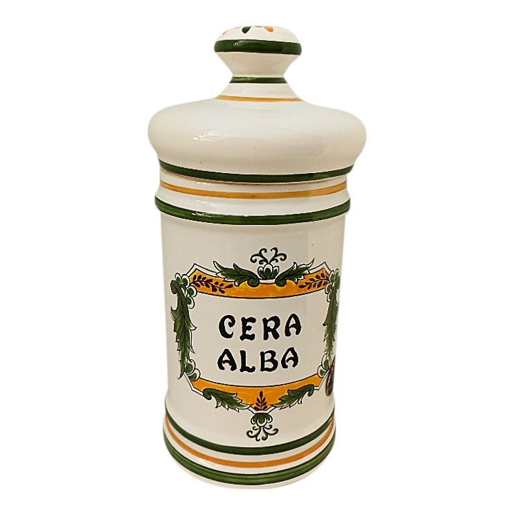 Clamecy Cera Alba Faience Apothecary Jar