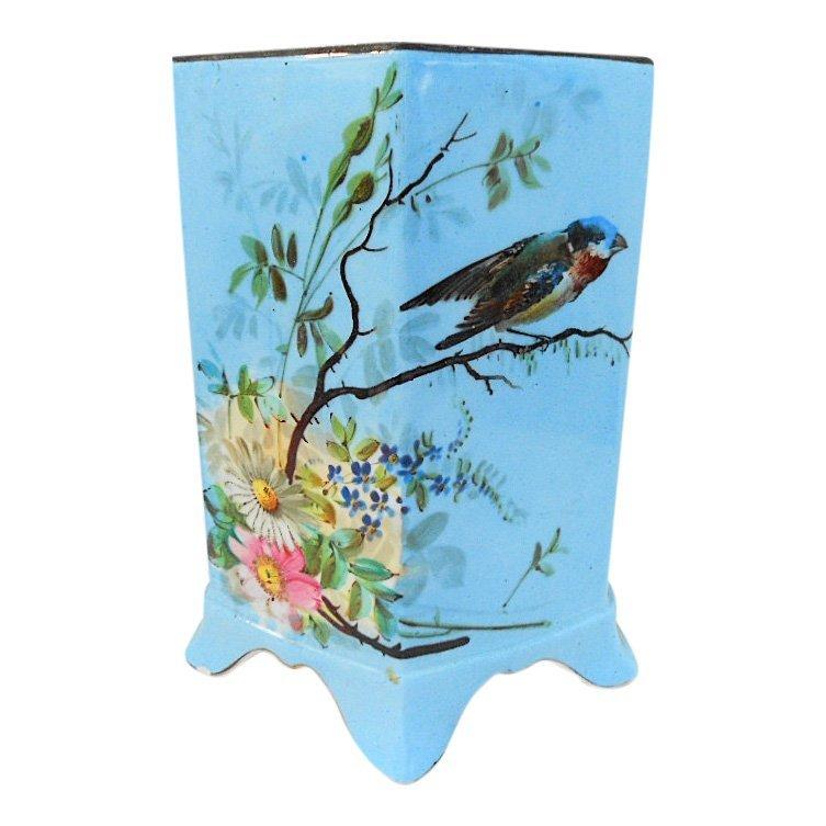 French Antique Porcelain Hand Painted Bird Floral Vase