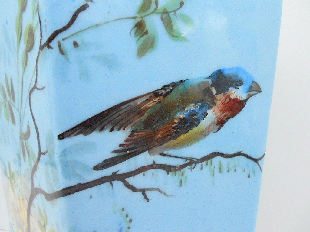 French Antique Porcelain Hand Painted Bird Floral Vase - 2