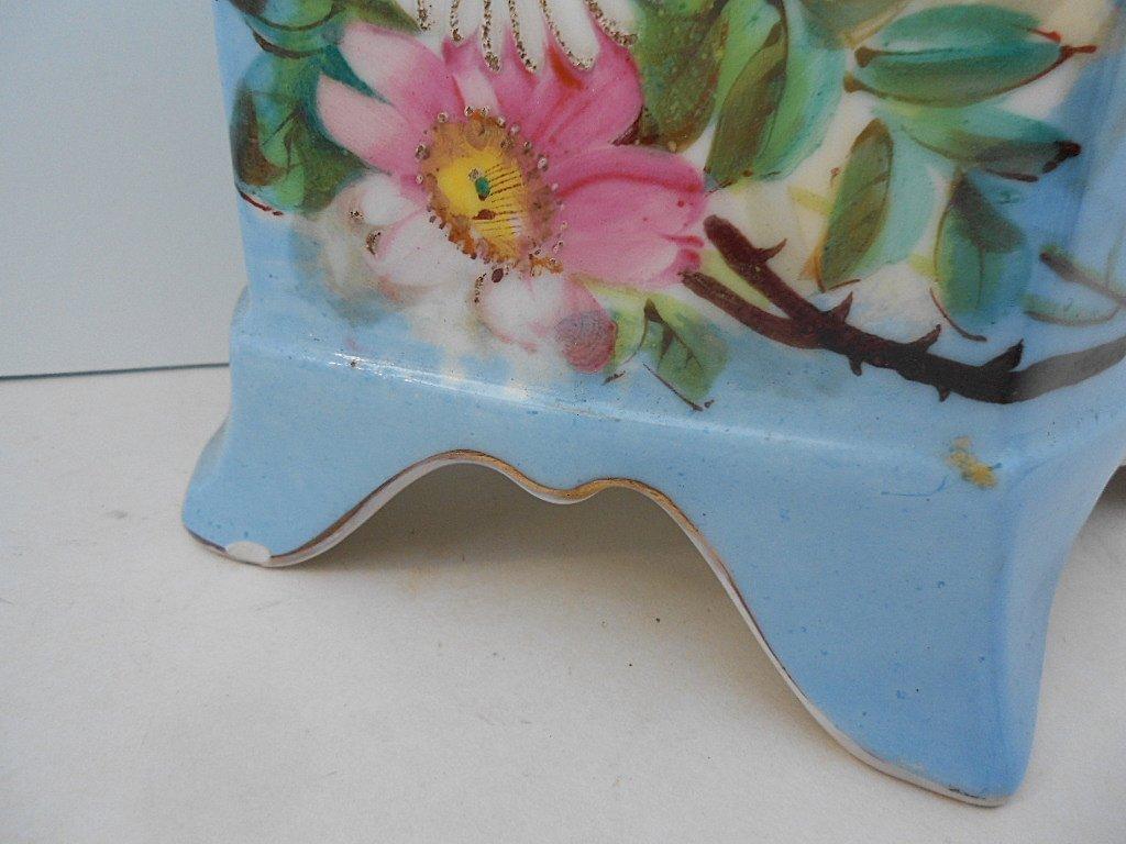 French Antique Porcelain Hand Painted Bird Floral Vase - 3