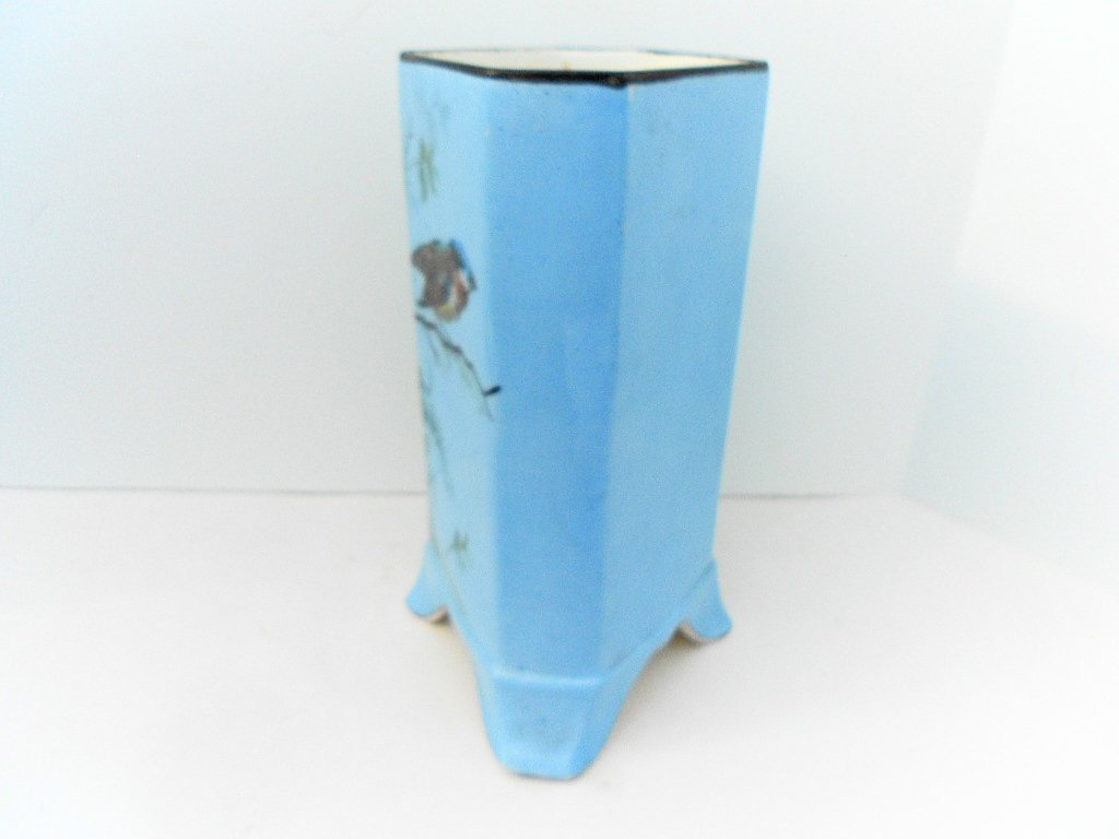 French Antique Porcelain Hand Painted Bird Floral Vase - 4