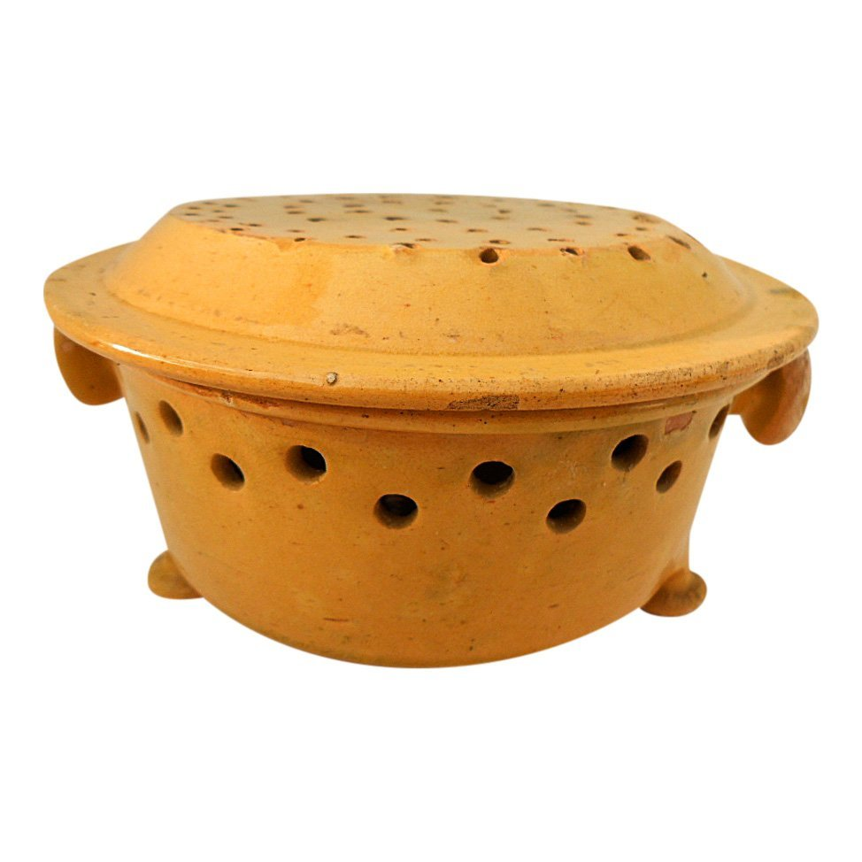 French Antique Glazed Stoneware Faisselle Cheese Mold