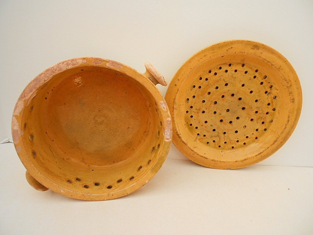 French Antique Glazed Stoneware Faisselle Cheese Mold - 3