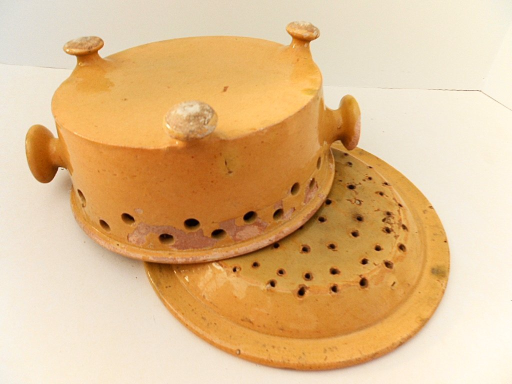 French Antique Glazed Stoneware Faisselle Cheese Mold - 4