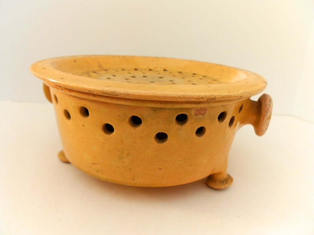 French Antique Glazed Stoneware Faisselle Cheese Mold - 7