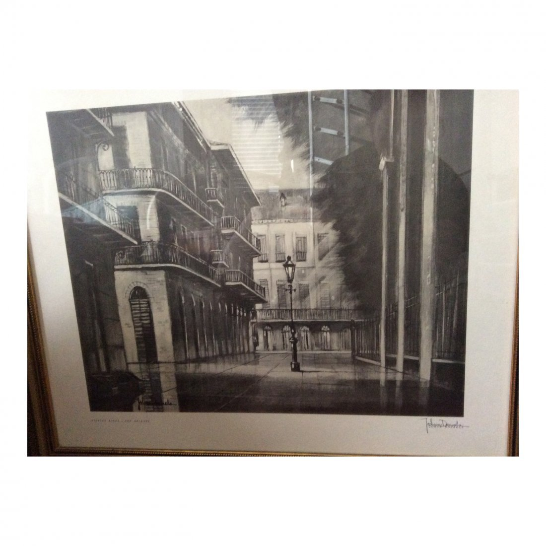 John Donnels: Print of Pirates Alley, 1960's