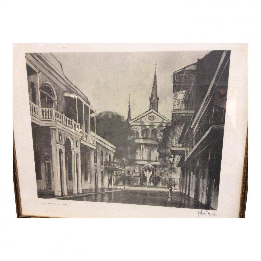 John Donnels: Print of St. Louis Basilica, 1960's