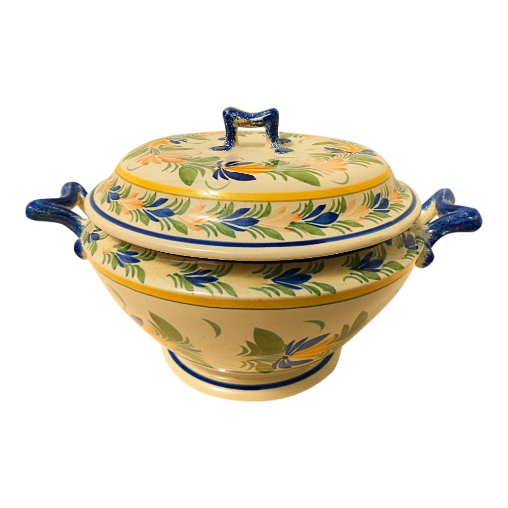 Henriot Quimper French Vintage Faience Soup Tureen