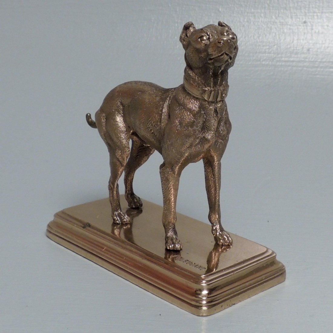 Alfred Dubucand: Gilt Bronze Terrier Dog Sculpture - 2