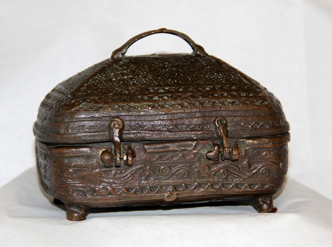 Antique Indian Cast Bronze Dowry Box - 2