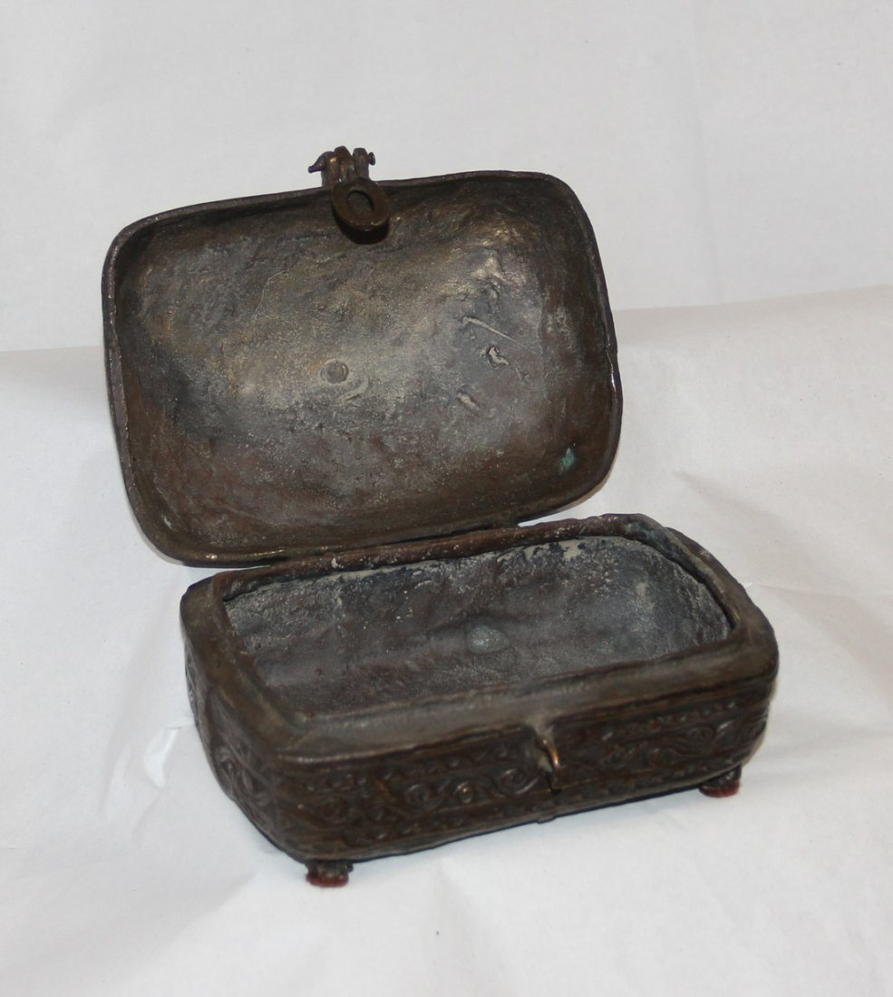 Antique Indian Cast Bronze Dowry Box - 8