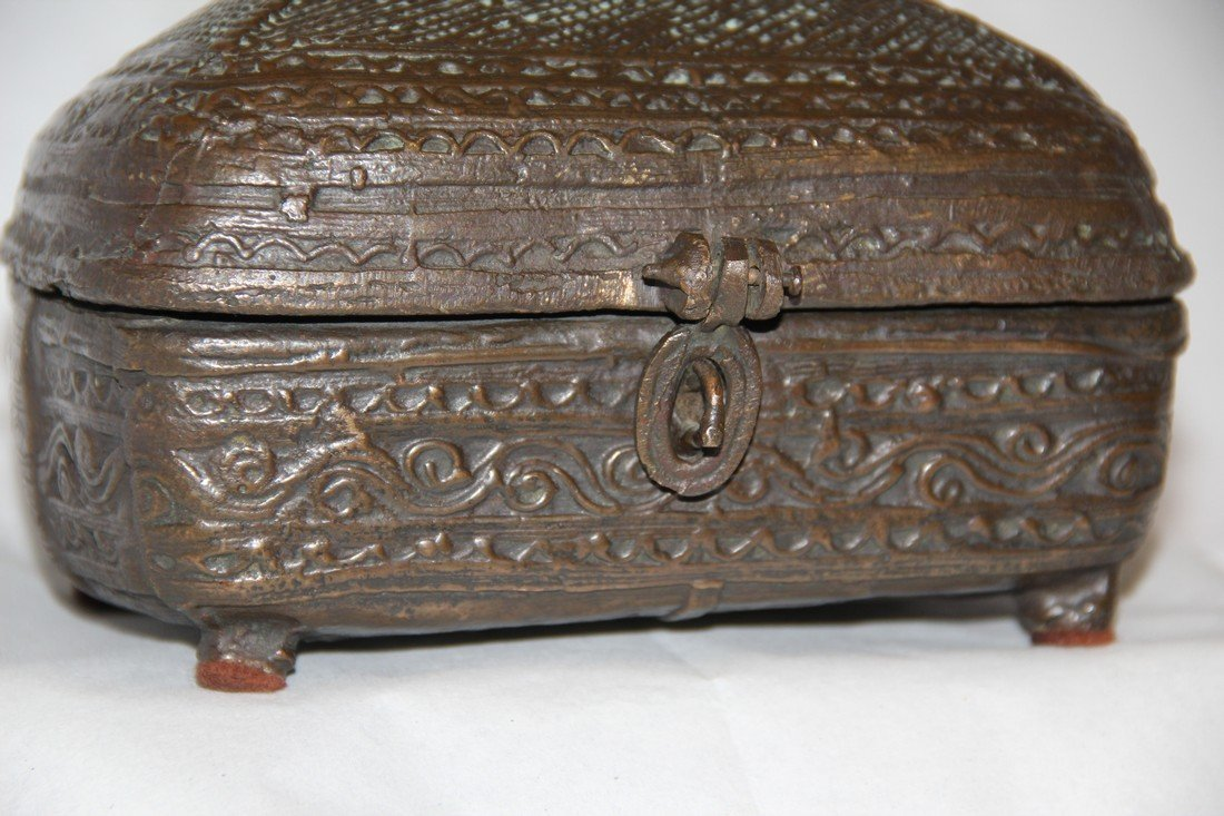 Antique Indian Cast Bronze Dowry Box - 9